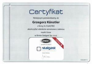 Certyfikat naprawa sprzętu gastronomicznego Stalgast