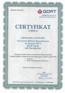 Certyfikat serwis GORT